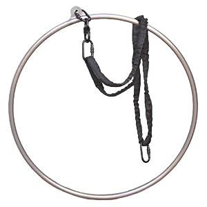 runner deer Complete Lyra Aerial Hoop Kit -Aerial Rings Equipment,Include a Stainless Steel Lyra (32mm Tube Dia) &Carabiners&Swivel& 3ft Spanset