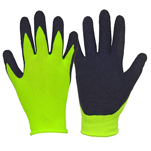 Kids Gardening Work Protection Gloves (Size 4, Yellow/Black)