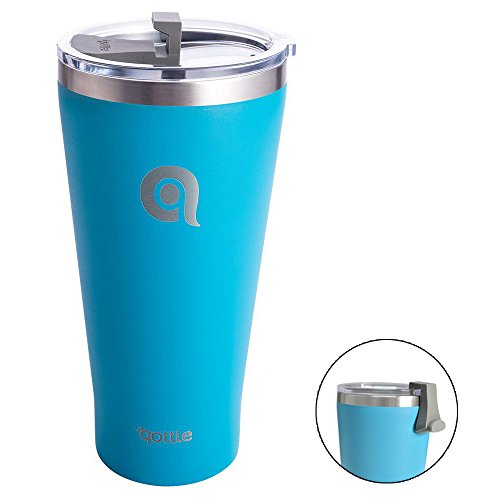 qottle 30oz Stainless Steel Vacuum Insulated Tumbler with Lid Spill Proof-Aqua blue