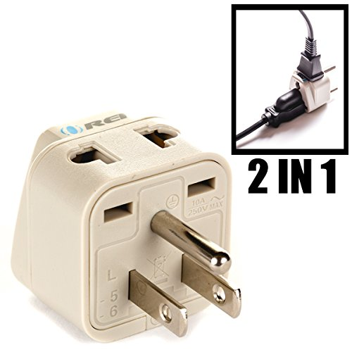 OREI Grounded Universal 2 in 1 Plug Adapter Type B for USA, Japan & more – High Quality – CE Certified – RoHS Compliant…