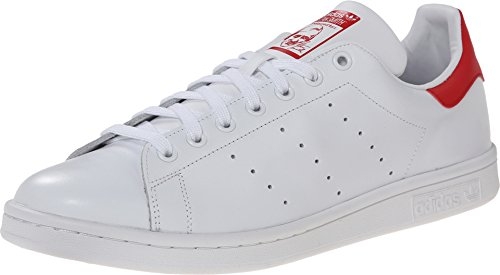 (adidas Men's Originals Stan Smith Sneaker, White/White/Collegiate Red, 9.5 M US)
