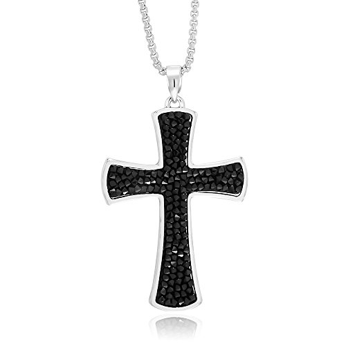 Gem Stone King 2.5inches Rhodium Plated Medley Black Crystal Cross Made with Swarovski Crystals
