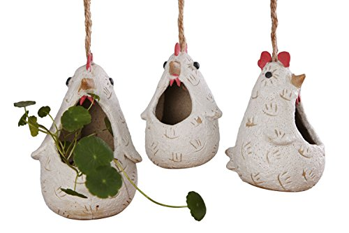 VanEnjoy Cute Cartoon Ceramic Hanging Succulent Planters Cock Rooster Shaped, Handmade Pottery Flower Pots, Air Plant Vase Holder for Indoor Outdoor Decorative Handmade Wall Planter - Set of 3
