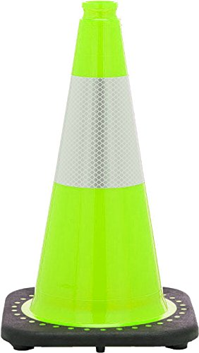 JBC Safety Plastic RS45015C-Lime+3M6 Revolution Series 18'' Traffic Cone Wide Body with 6'' Reflective Cone Collar, Lime Color