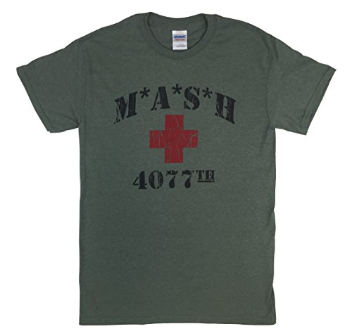 MASH 4077th Heather Military Green T Shirt Red Cross M*A*S*H (XL)