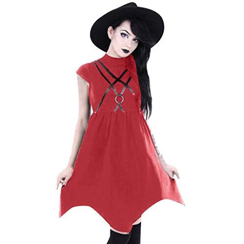 Goddessvan Women Summer Black Zipper Strap Dress Gothic Street Punk Wind Cosplay Party Cocktail Dress]()