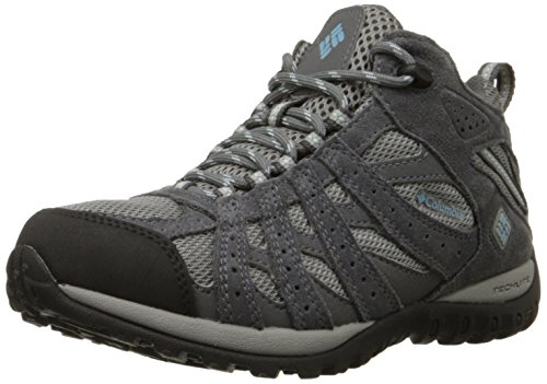 Image of Columbia Women's Redmond Mid Waterproof Trail Shoe, Light Grey/Sky Blue, 8.5 M US