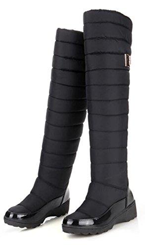 The Size GFONE Platform On Warm Wedge Boots 5 Women' 2 Black3 Slip Waterproof 9 Boots 5 Knee Winter Over Lightweight Snow 718x6ZrA7