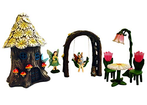 - Premium Fairy Garden Kit - Daisy Roof Fairy House, Standing Fairy, Fairy Arbor Swing, Fairy Seating (7, Fairy House w/Yellow Daisy Roof)