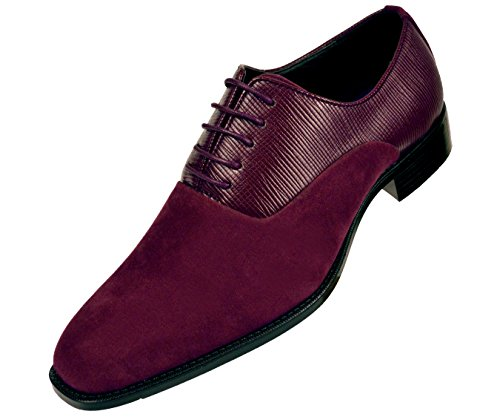 Bolano Mens Burgundy Vertical Emboss and Microfiber Oxford Dress Shoe with Black Sole: Style Strider-175