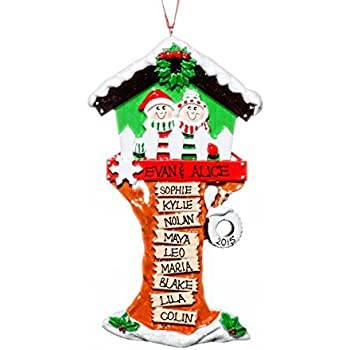 Family 11 Eleven Person Personalized Black Christmas Tree House Holiday Ornament