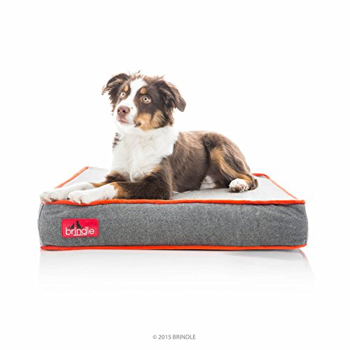 Brindle Waterproof Designer Memory Foam Pet Bed - Red Sherpa