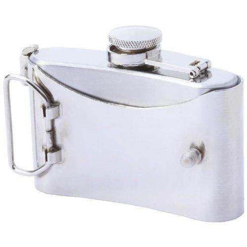 Maxam KTFLBKSK Stainless Steel Belt Buckle Flask with Skull and Crossbones, 3 oz, NA