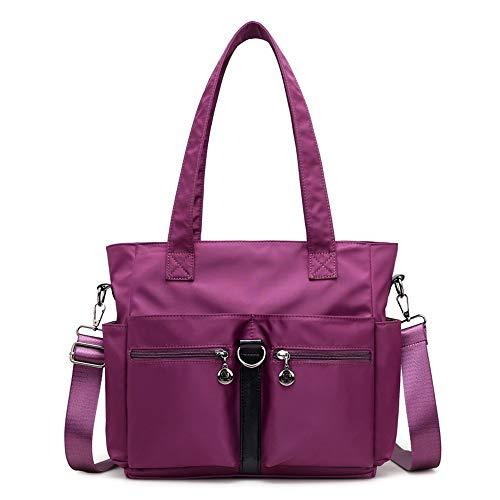 Chicwe Women's Nylon Handbag Shoulder Bag Tablet Laptop Tote as Travel Work Multi Pocket Casual Waterproof Lightweight Purple