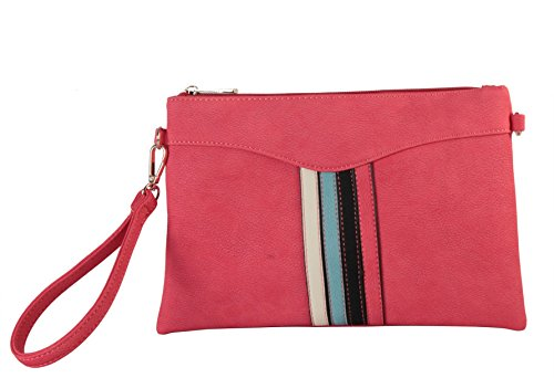 Diophy PU Leather Stripes Décor Light Weight Wristlet Purse Handbag GS3346