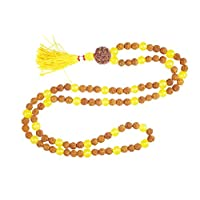 Zenfashion Mala Beads Rudraksha Yellow Jade Beads Necklace Yoga Mala 108+1