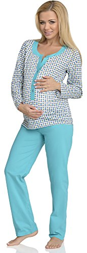 Be Mammy Mujer Lactancia Pijamas Dos Piezas Delores Turquesa