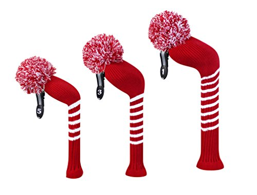 SCOTT Edward Crimson Red Classic Strip Golf Pom Pom Head Covers Set of 3 for Wood Clubs (3 Wood Clubs)