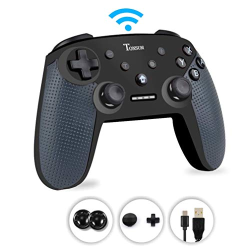 Switch Pro Controller, Wireless Controller for Nintendo Switch,Supports Gyro Axis,Turbo and Dual Vibration, Bluetooth Wireless Switch Gamepad with Type-C Charging Cable