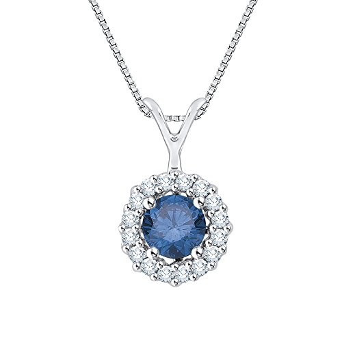14K White Gold 1/2 ct. Blue and White Diamond Fashion Pendant with Chain