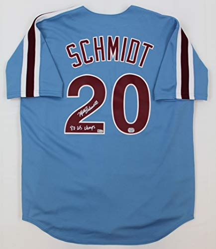 Mike Schmidt Autographed Blue Philadelphia Phillies Jersey - Hand Signed By Mike Schmidt and Certified Authentic by Fanatics - Includes Certificate of Authenticity - Inscribed 80 WS CHAMPS