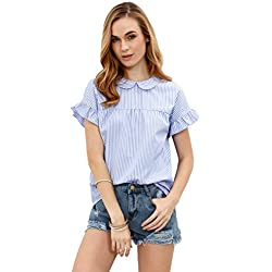 SheIn Women's Cute Striped Peter Pan Collar Short Sleeve Babydoll Blouse Top