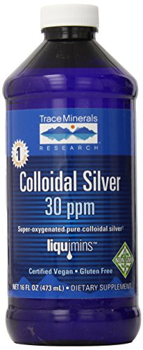 Trace Minerals Research Vegan Colloidal Silver Spray, Bio-Active Silver Hydrosol Liquid Mineral Supplement, Certified Organic, Natural & Pure, 30 PPM, 4 fl. oz, CLSSP01