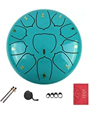 LukyTimo Steel Tongue Drum, 10 inch 11 Notes Handpan Drum, Percussion Instrument with Drum Mallets Music Book for Meditation, Mind Healing, Decompression,Music and Gift (green)