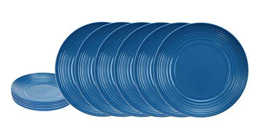 Blue Rim Salad Plate - Handi-Ware Bulk Multi-Pack Melamine Blend 8.3