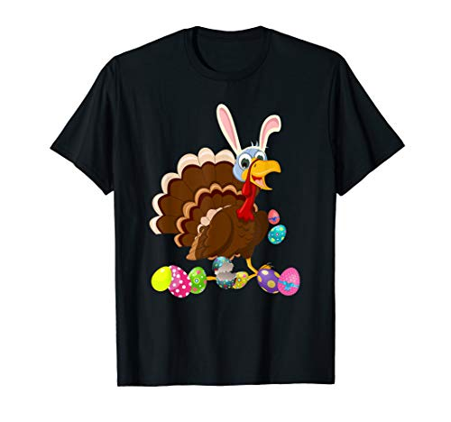 (Turkey And Bunny Rabbit Hat Easter Eggs Happy Day T Shirt)