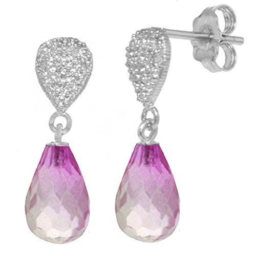 ALARRI 4.53 CTW 14K Solid White Gold I Ask For Love Pink Topaz Diamond Earrings by ALARRI