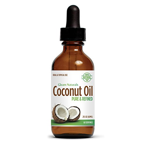 Gleam Naturals Coconut Oil 2oz Amber Glass Bottle Black Droppers Fractionated Pure Extra Virgin Organic Natural Vitamins Medium Chain Triglycerides Essential Oil Uses Hair Skin Face Eczema Moisturizer Digestion Cooking Diet Weight Loss Recipes Health Bene
