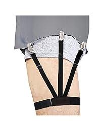 New Journey Sujetadores de Camisa, Liga Elástica Ajustable con 3 Abrazaderas Antideslizantes Tirantes Clip para Evitar Arrugas de Camisas Trajes de Hombres y Mujeres (1 Par)