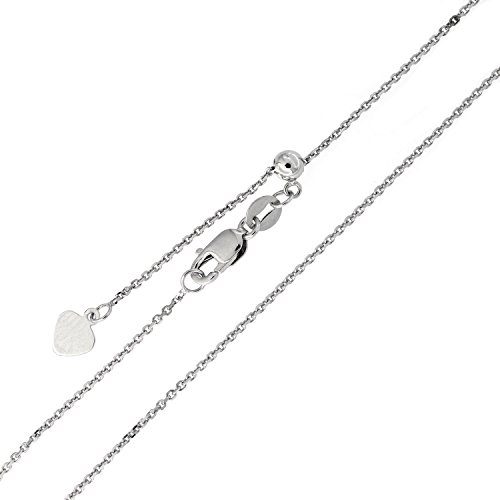 Solid Sterling Silver Rhodium Plated Diamond Cut 1mm Cable Adjustable Chain Necklace, up to 22