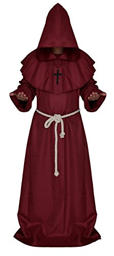 Halloween comic party Cosplay monk hooded robe cloak medieval Renaissance monk men's clothing (Master Chief Costume Halloween City)