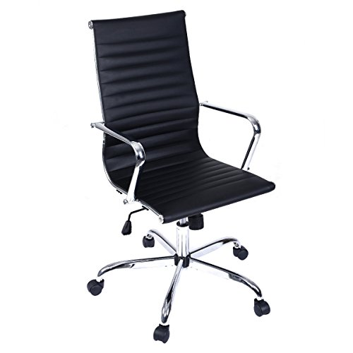 Modern PU Leather Ergonomic High Back Office Chair Executive Computer Desk # Black
