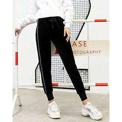 Mujer Pantalones Cálido Espesar Cintura Elástica Suelto Básico con 2 Bolsillos Laterales: Ropa y accesorios