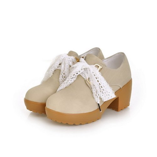 Amoonyfashion Donna Punta Rotonda Tacco Alto Materiale Pu Morbido Materiale Solido Con Fasciatura E Pizzo Beige