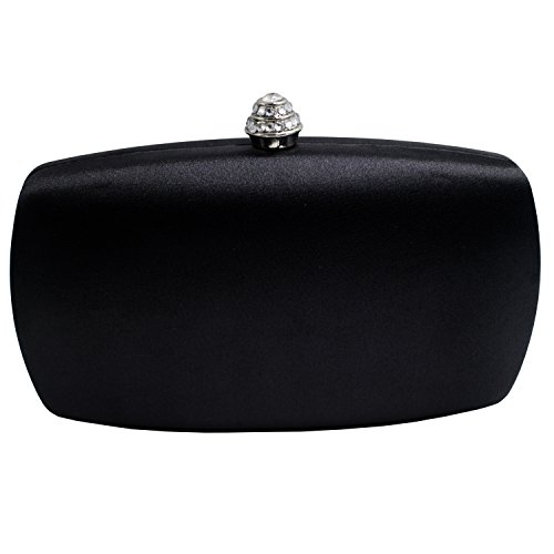 Black Satin Diamante Clutch Bag - 4