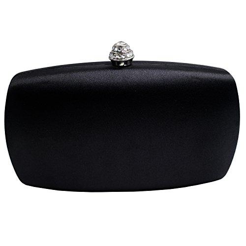 Black Satin Diamante Clutch Bag - 7