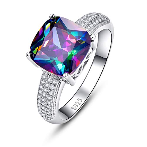 BONLAVIE Created Rainbow Topaz Rings Cushion Cut with White Cubic Zirconia CZ Inlay Pure 925 Sterling Silver Eternity Bands Size ()