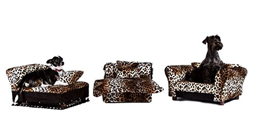 Dog Chaise Lounge - Keet 3 pcs Pet Set; Sofa, Chaise and Bed in Leopard
