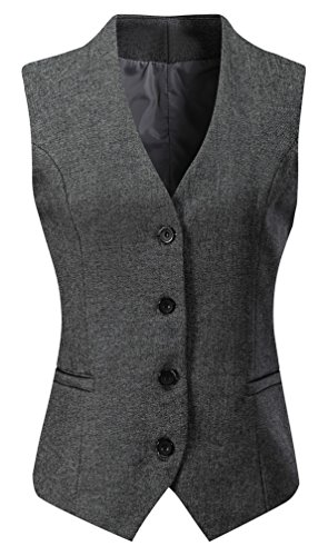 Foucome Women's Formal Regular Fitted Business Dress Suits Button Down Vest Waistcoat Dark Grey US 2XL - Tag 8XL