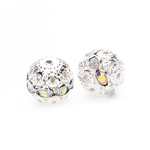 Crystal AB Stones Spacer Beads Silver Plated Hollow Metal Bracelet Beads 8mm Pack of 30 Pieces ()