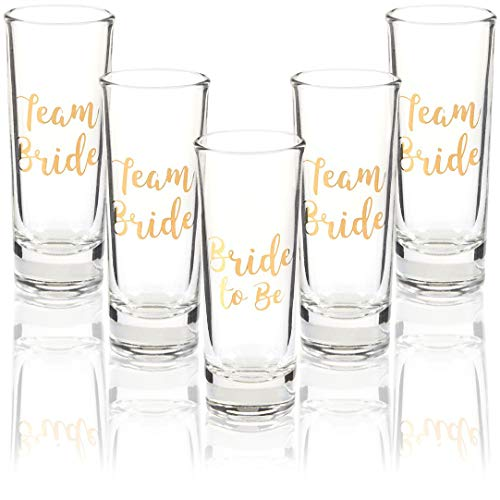 Bridesmaid Shot Glasses (Party Favors Shot Glasses - Bachelorette Shot Glasses with Bride to Be and Team Bride Prints- Set of 5, 2 oz)