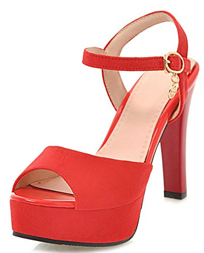 Aisun Women's Fashion Buckled High Chunky Heels Sandals Shoes Red