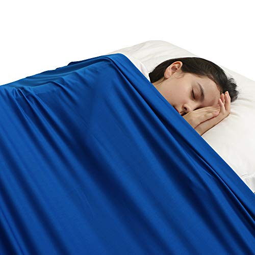 Sensory Compression Blanket for Kids- Sensory Bed Sheet Sleeping Aid - Help Kids Settle Down at Nighttime - Breathable Stretchy Comfortable Sleep (Twin, Blue)