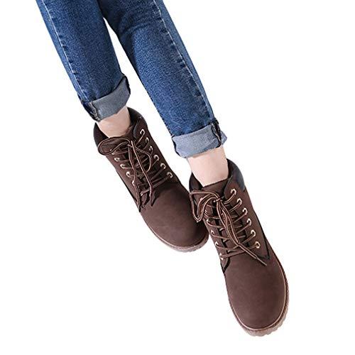 Femmes Mode la de de Motard randonnée Bottes la de Haut de Chaussures Marron juqilu Bottes Chaussures Haut Travail Lacets des Plates Bottes qXtAWEw