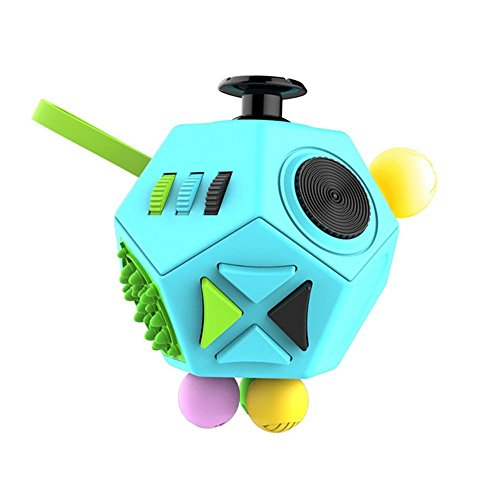 Minilopa Fidget Dodecagon -12-Side Fidget Cube Relieves Stress and Anxiety Anti Depression Cube for Children and Adults with ADHD ADD OCD Autism (B3 Blue Sky) (Best Fidget Cube Brand)