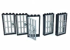 Lego Light Bluish Gray Door 1x4x6 Barred Jail Door with Stud Handle And door Frame, 5 Count